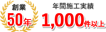創業50年、年間施工実1,000件以上